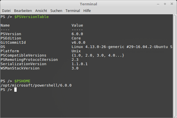 PowerShell Core 6.0 unter Linux